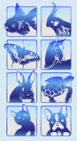Icons with silhouettes of animals 2. 7 icons in blue colors with silhouettes of animals, a parrot, а turtle, а cat, а dog, а horse, а fish, а  butterfly Royalty Free Stock Image