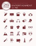 Icons silhouettes entertainment set 1. Icons silhouettes entertainment set. Vector illustration Stock Photography