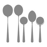 Icons Of Silhouettes Of Kitchen Spoons Isolated Royalty Free Stock Photos