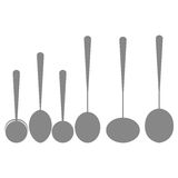 Icons Of Silhouettes Of Kitchen Spoons Isolated Royalty Free Stock Photography