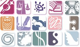 Icons. Simple stylized square icons representing different kinds of human activity Stock Images