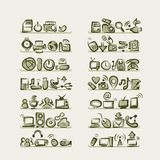 IT icons sketches on shelves for your design Royalty Free Stock Image