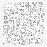 Icons of sketchy food Stock Images