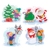 Icons small children decorate the Christmas tree, making a snowman Royalty Free Stock Photos