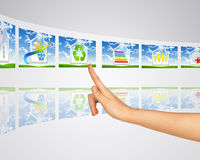 Icons smart buildings. Finger presses one of Royalty Free Stock Images