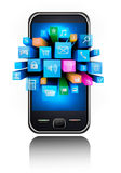 Icons in a smartphone Royalty Free Stock Image