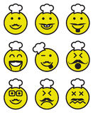 Icons of smiley chef faces Stock Photography