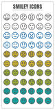 Icons smiley vector color black Yellow green blue on white backg Royalty Free Stock Photos