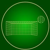 Icons soccer gates and soccer ball neon circle Stock Photography