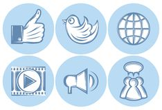 Icons for social networking, internet, twitter, Like, file sharing Stock Photo