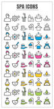 Icons spa color blck blue pink Yellow green vector on white back Royalty Free Stock Photography