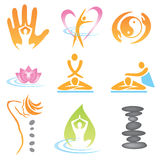 Icons_spa_massage. Set of massage , wellnes and spa icons. Vector illustration Royalty Free Stock Photos