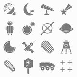 Icons space in flat style gray on white Set 2 Stock Photography