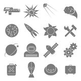 Icons space in flat style gray on white. Set of flat icons space. White and gray color Royalty Free Stock Photos