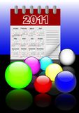 Icons of spheres and calendar 2011. Vector. 10eps. Royalty Free Stock Image