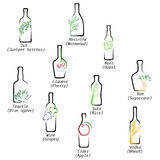 Icons spirits. Icons depicting of which produce alcoholic beverages Royalty Free Stock Photo