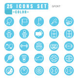 Icons sport color thin white in the circle blue on white backgro Stock Photography