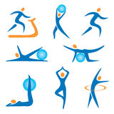 Icons_sport_fitness. Set of sport, fitness, exercise colorful icons Royalty Free Stock Image