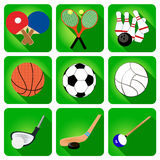 Icons sport tennis, football, basketball, billiards Royalty Free Stock Photography