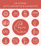 13 icons with sports elements. Set of different icons of power sports and games Royalty Free Stock Photography