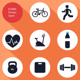 Icons, sports, fitness, flat design,  Royalty Free Stock Images