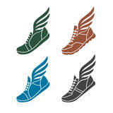 Icons sports shoes with wings Royalty Free Stock Images