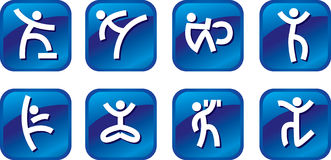 Icons with sports symbols Stock Photos