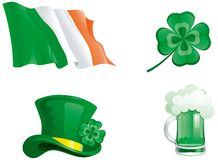 Icons for St. Patricks Day. Set of  green hat, beer, clover, and ireland flag Stock Photo