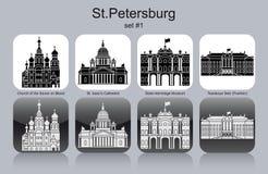 Icons of St.Petersburg. Landmarks of St.Petersburg. Set of monochrome icons. Editable vector illustration Stock Photos