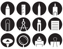 Icons stationery in circles. Icons on white background stationery in black circles Royalty Free Stock Photo