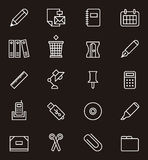 Icons of stationery and office supplies Stock Image