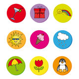 Icons stations. Colored buttons with motifs of spring, summer, autumn and winter Royalty Free Stock Image