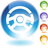 Icons - Steering Wheel. 3D steering wheel icon in multi colors Stock Photography