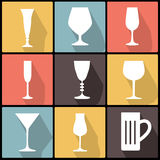 Icons with stemware in Flat Design Royalty Free Stock Images