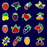 Icons Stickers of fruits and berries with a white outline in a set on a dark background. Icons Stickers of different fruits and berries with a white outline Stock Images