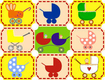 Icons strollers. Icons colorful baby strollers for boys, girls, twins Vector Illustration