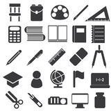 Icons of study equipment Stock Images