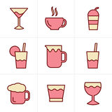 Icons Style  Drink  Icons Set, Vector Design Stock Photo