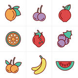 Icons Style  Fruit Icons Set Royalty Free Stock Image