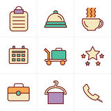 Icons Style Hotel and Hotel Services Icons Stock Photos