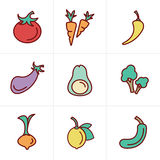 Icons Style Icons set Vegetable Stock Photography