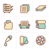 Icons Style Icons Style  Print icons set Stock Images