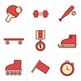 Icons Style Icons Style  Set of monochromatic simple sports icon Stock Images