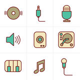 Icons Style Music Icons Set Stock Images