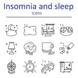 The icons in the style of the outline of the characters of healthy sleep and insomnia. Royalty Free Stock Photo