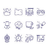 The icons in the style of the outline of the characters of healthy sleep and insomnia. Vector illustration Stock Images