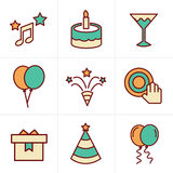 Icons Style party Icons Set Stock Photos