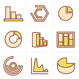 Icons Style Simple set of diagram and graphs Royalty Free Stock Photography