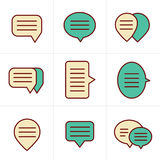 Icons Style Speech bubble icon set Royalty Free Stock Images