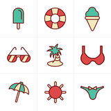 Icons Style Summer  Icons Set Royalty Free Stock Images